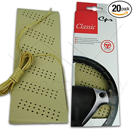 Amazon.com: Classic Grip Synthetic Leather DIY Wrap Steering Wheel Cover Tie (Beige): Automotive