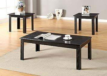 GTU Furniture Black/oak Finish Wood Coffee Table U0026 2 End Tables Occasional  Set (