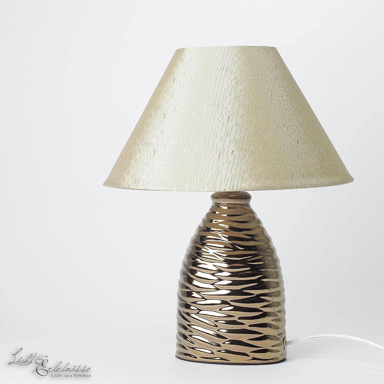 Elegante Tischleuchte in braun inkl. 1x 3W E14 LED 230V Tischlampe aus Keramik Kunststoff & Textil für Wohnzimmer Schlafzimmer Lampen Leuchte Beleuchtung innen