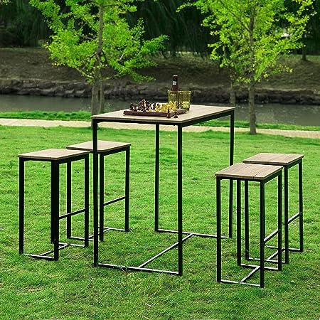 SoBuy OGT15-N Set Mesa Alta de Bar y 4 Taburetes Muebles Bar Comedor ES