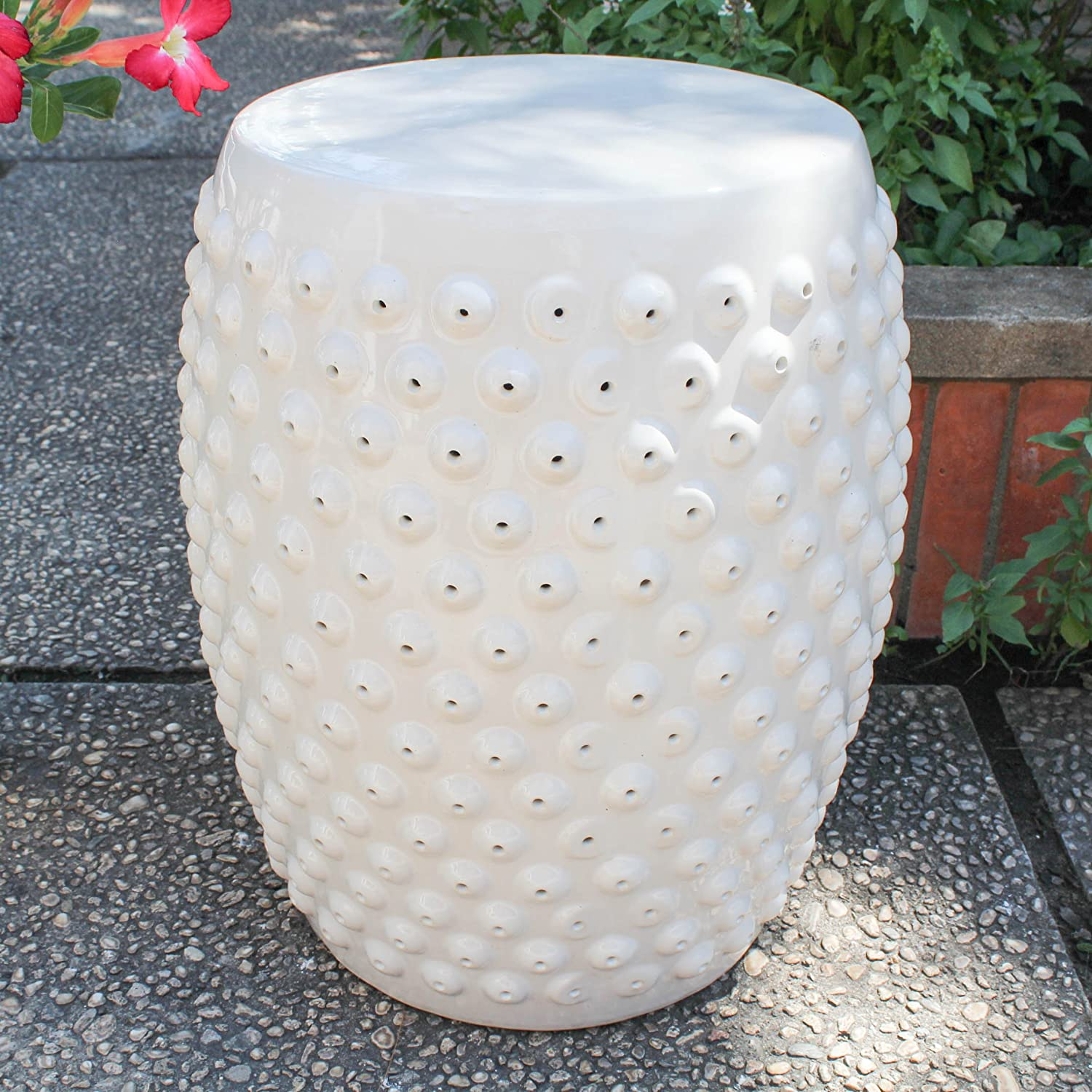 International Caravan OPG-070-AW-IC Furniture Piece Perforated Antique White Drum Ceramic Garden Stool, White Off-White