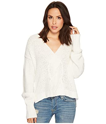 3d57b6fbf0ab4 Free People Coco V-Neck White Sweater Pullover Large at Amazon ...