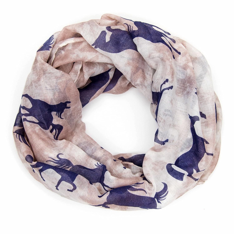 ManuMar sciarpa loop donna | sciarpa a tubo raffinata con motivo di cavallo come accessorio perfetto per l'estate | scialle | foulard tondo | sciarpa infinita | Un regalo ideale