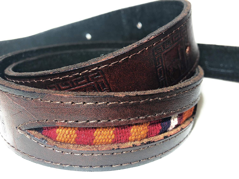 Leather Mens Belt Hand Stamped Peru Secret Zipper Pocket Llama Alpaca design Dark Brown with Woven Fabric Inserts