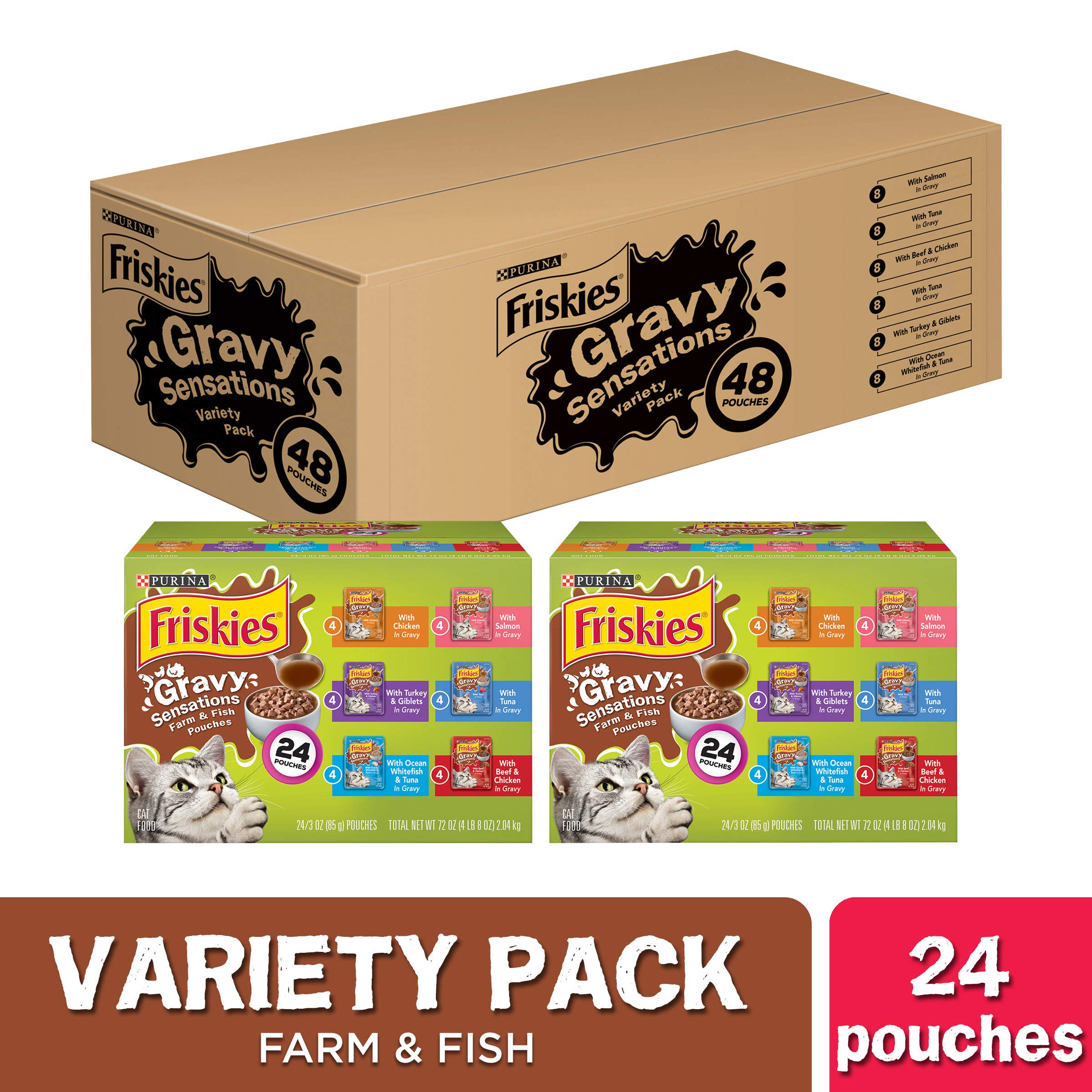 Purina Friskies Gravy Wet Cat Food Variety Pack, Gravy Sensations Farm & Fish Pouches - (2 Packs of 24) 3 oz. Pouches by Purina Friskies