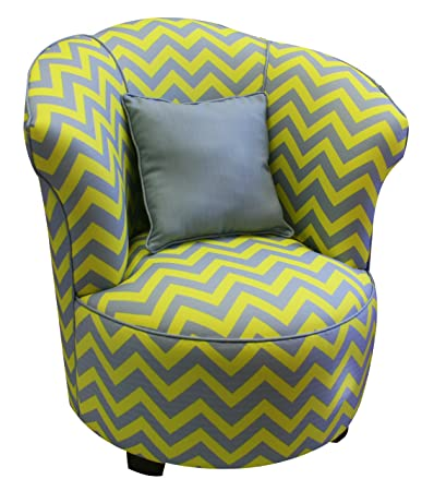 Newco Kids Tulip Chevron Chair With Piping And Pillows, Gray And Yellow