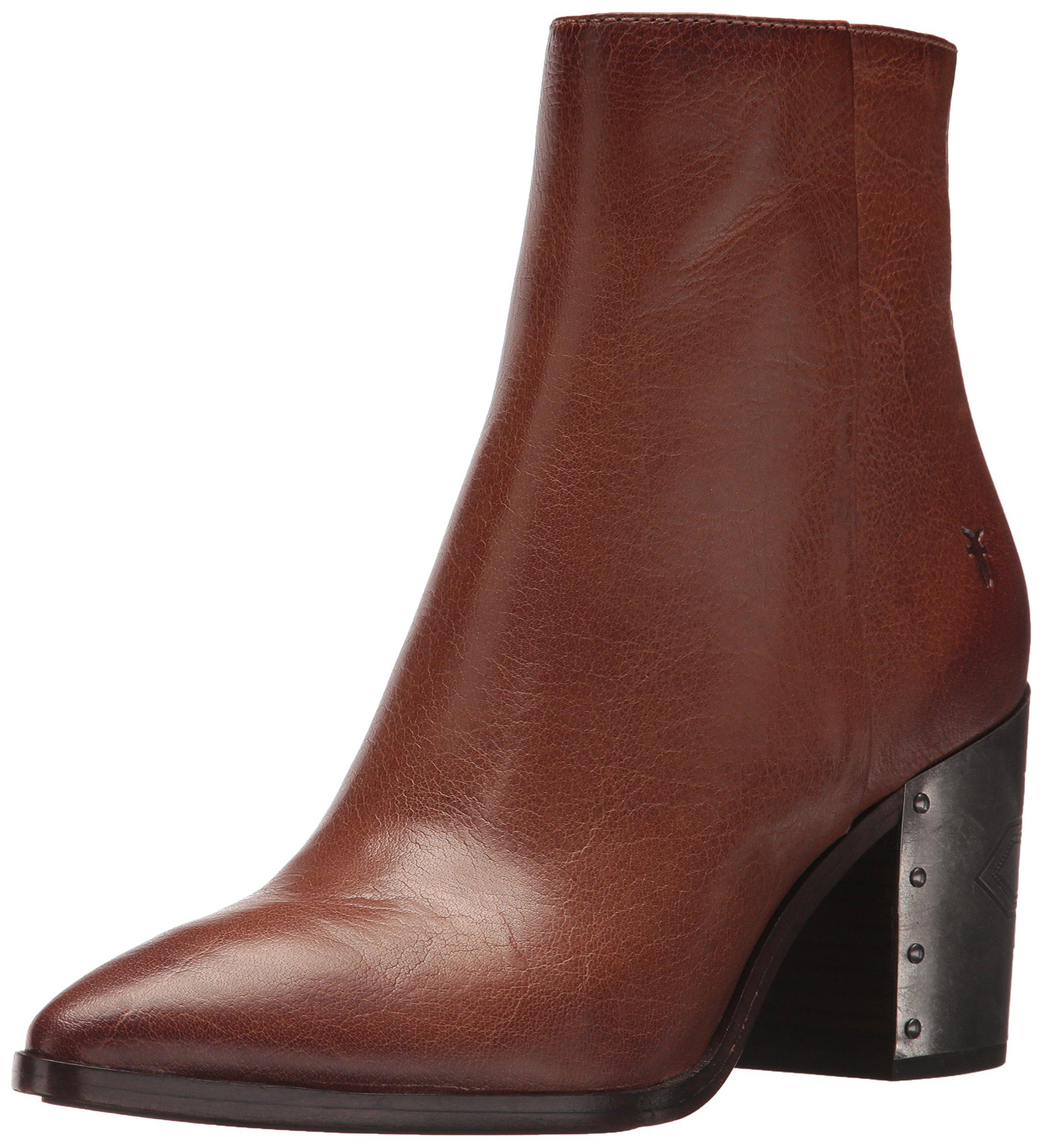 FRYE Women's Flynn Omaja Short Inside Zip Ankle Boot, Cognac, 8.5 M US