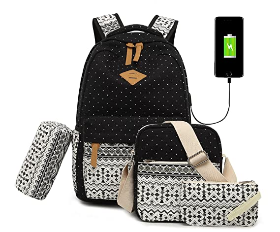 Vezela 4Pc Combo Of Laptop Bag With Usb Charging Feature With Lunch ... 38e8c24a77b65