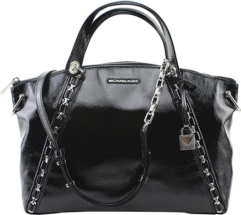 cde13b0b6104 Amazon.com  Michael Kors Sadie Large Top Zip Satchel Black Patent Leather   Clothing