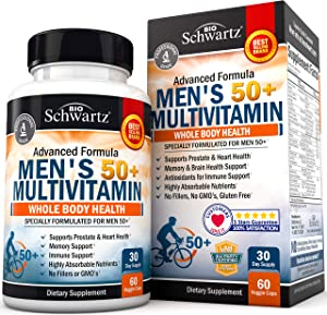 Once Daily Multivitamin for Men 50 and Over - Supplement for Heart Health Support - with Zinc, A, B, C, D3, E Vitamins - for Memory & Brain Health Support - Designed for Whole Body Health