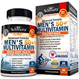 Once Daily Multivitamin for Men 50 and Over - Supplement for Heart Health Support - with Zinc, A, B, C, D3, E Vitamins - for Memory & Brain Health Support - Designed for Whole Body Health -30 Ct