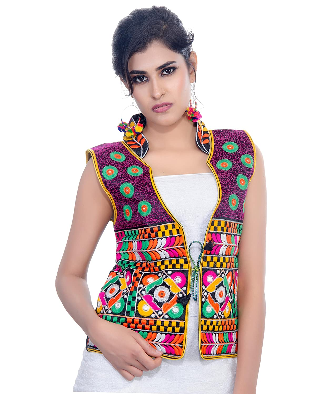 Banjara India Poly Cotton Kutchi Embroidered Waist Length Jacket (Chakachak)