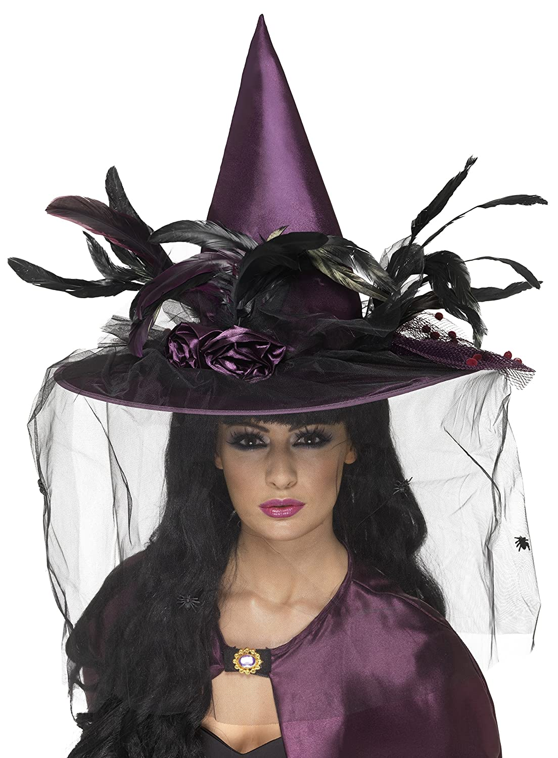 Amazon.com: Smiffy's Women's Witch Hat with Feathers and Netting ...