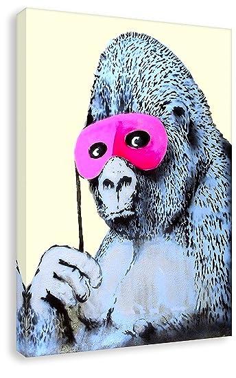 Banksy Graffiti - Gorilla - Bild fertig auf Keilrahmen! Pop Art ...