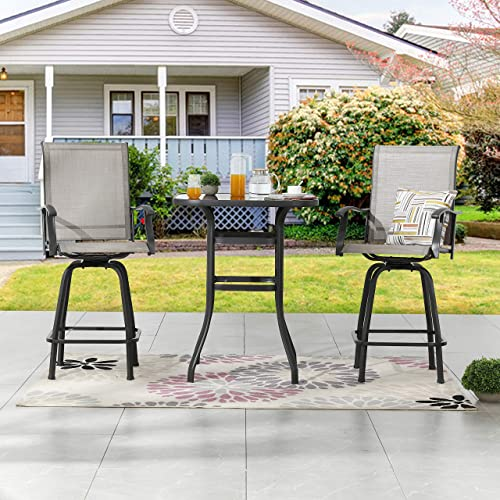 LOKATSE HOME 3 Pcs Bar Stools Set 2 High Swivel Chairs and 1 Height Outdoor Bistro Table