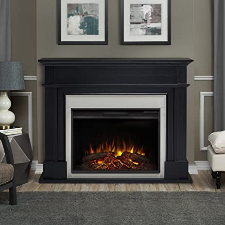 Real Flame 8060E BLK Harlan Grand Electric Fireplace, Large, Black