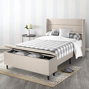 Terrific Mellow Platform Beds With Headboard And Bedside Storage Ottoman No No Box Spring Needed Queen Beige Pdpeps Interior Chair Design Pdpepsorg