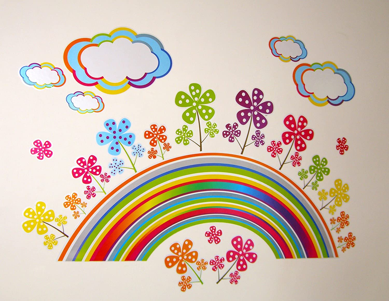 RAINBOW FLOWER Large Wall Stickers For Girls Bedroom Or - Bedroom wall decals uk