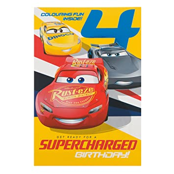 Hallmark Cars 3 4Th Birthday Card Colouring