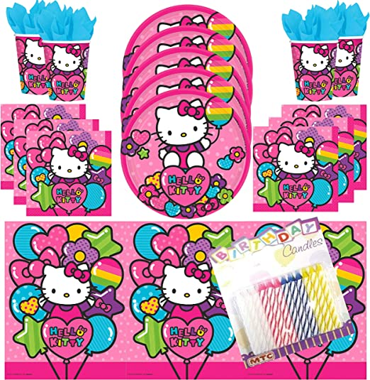 12x Sanrio Characters Durable Party Paper Plates Children Birthday Party Supplies Packs for 12 Pax 15x Colourful Mini Fork 25x Hello Kitty Imprint Party Napkins