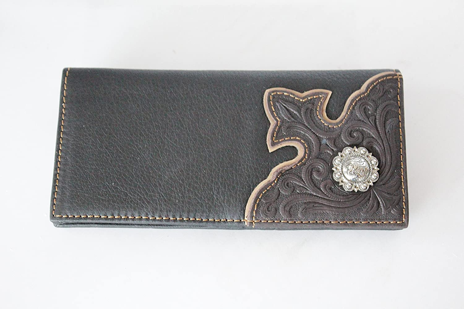 Western Black Brown Hand Tooled Floral Genuine Leather Men/'s Rodeo Long Wallet