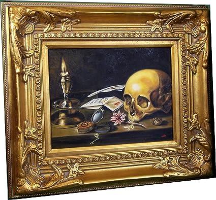 Bodegón de calavera Tejido vela pinturas Vanitas petróleo con marco ...