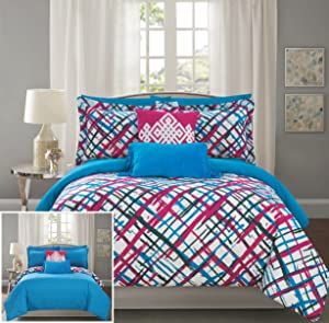 Chic Home Abstract 9 Piece Reversible Comforter Print Design Bed in a Bag-Sheet Set Decorative Pillows Shams Included SizeFuchsia, Full, Fuschia