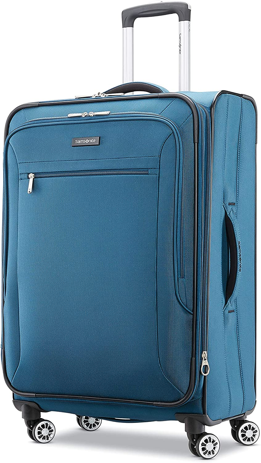 Samsonite Ascella X Softside Expandable Luggage with Spinner Wheels, Teal, Checked-Medium 25-Inch