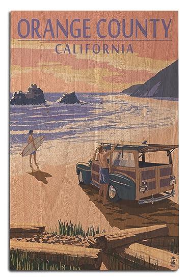 Amazon.com: Orange County, California - Woody on Beach (12x18 Wood ...