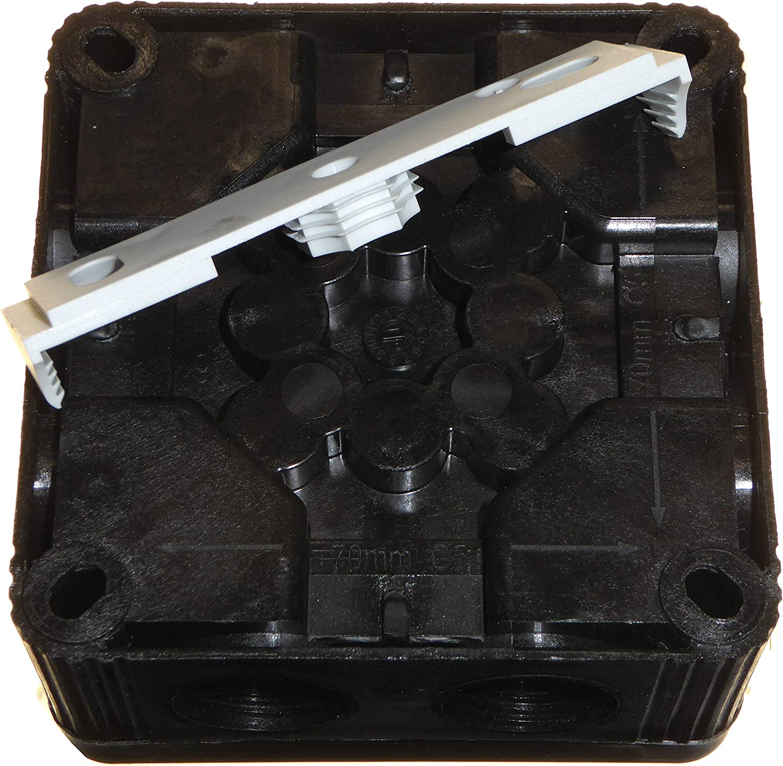 Black Wiska 308//5 Kombi-Abzweigdose mit 3 x GLP20 IP68 Kabelverschraubungen f/ür den Au/ßenbereich