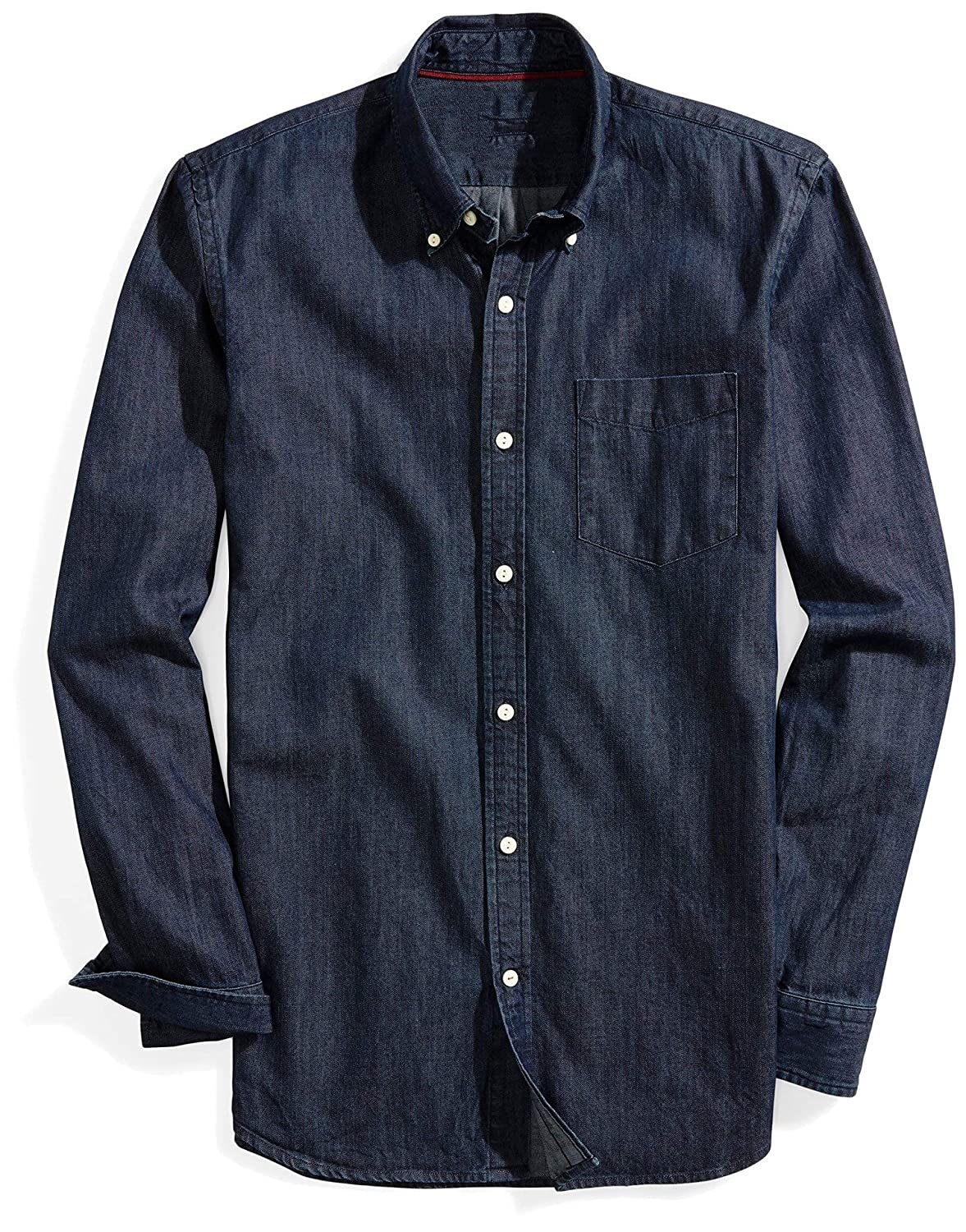 Abetteric Mens Single-Breasted Retro Plus Size Jean Washed Work Shirt