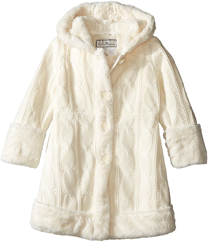 Widgeon Girls' Hooded Faux Fur Trimmed Sweater Coat 3517