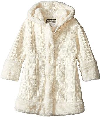 bd108138273d8 Amazon.com  Widgeon Little Girls Hooded Faux Fur Trimmed Sweater ...