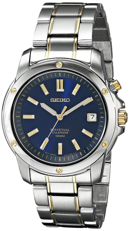 Seiko Perpetual Calendar.Seiko Men S Two Tone Blue Dial Perpetual Calendar Watch