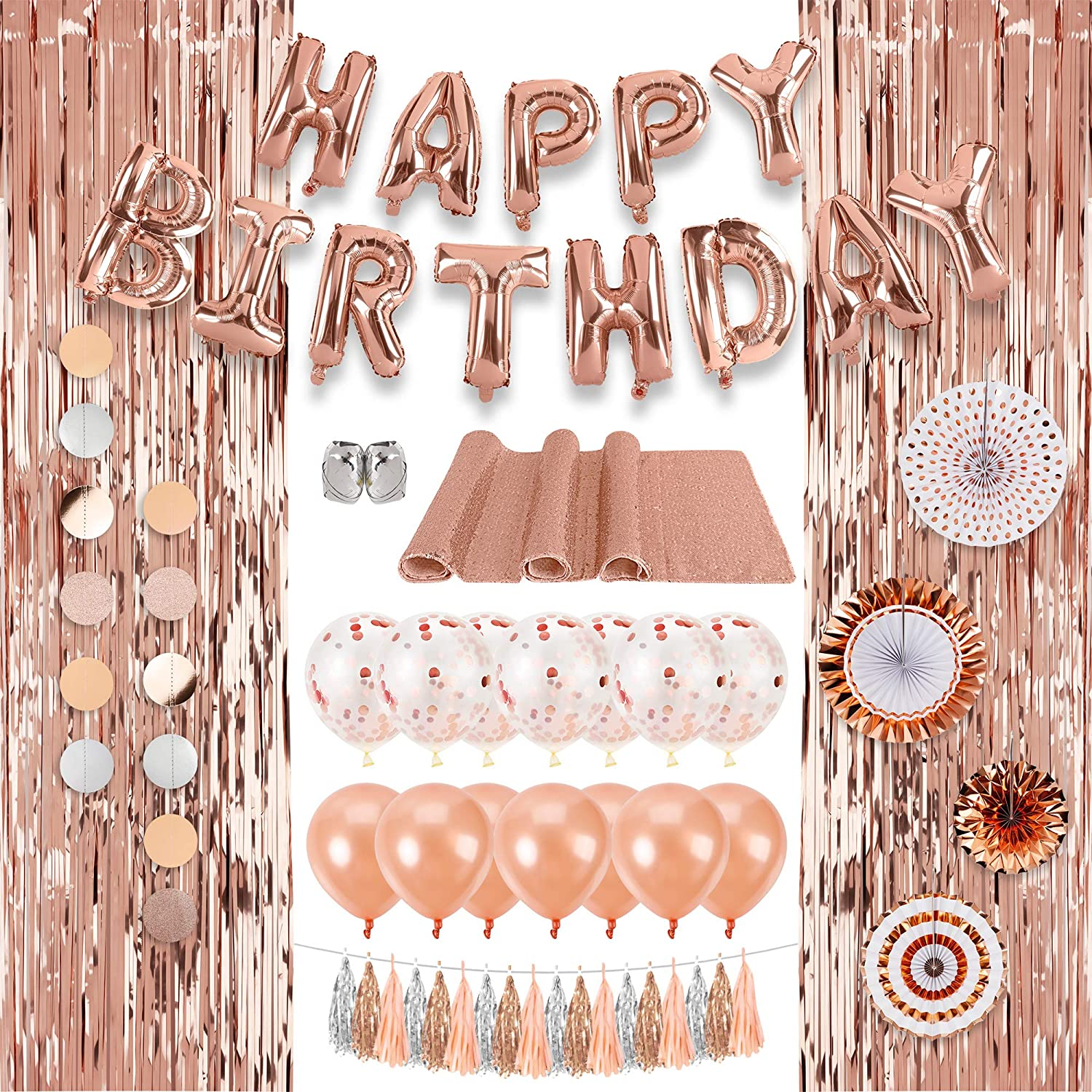 Decorlife Rose Gold Party Decorations for Birthday, Rose Gold Party Decor Kit for Girls, Total 37PCS, Including Happy Birthday Banner, Sequin Table Runner, Rose Gold Balloons, Foil Fringe Curtains, Circle Dot Garlands, Tassels, Hanging Paper Fans, Foil Ribbons