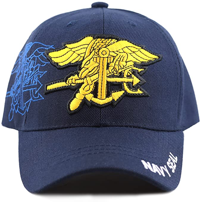 c2a925a9081 THE HAT DEPOT Navy Embroidered Military Baseball Cap Hat (Navy Seal ...