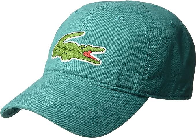 NEW LACOSTE AUTHENTIC LARGE CROCODILE MEN/'S GABARDINE WHITE BACKSTRAP HAT CAP
