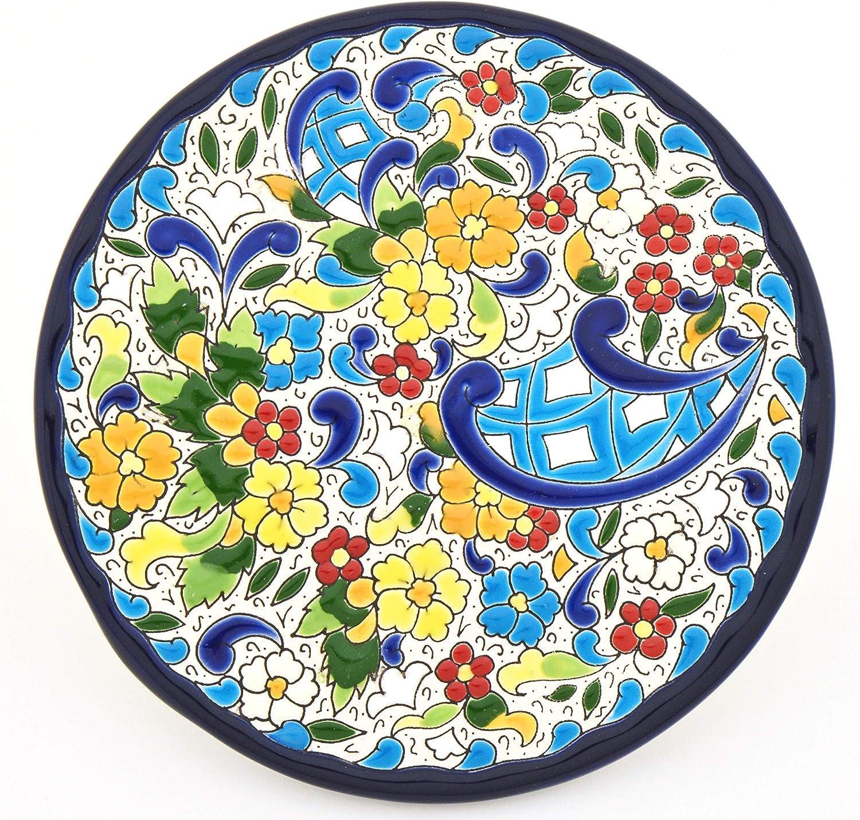 Plato Pared Modelo 06, Plato Decorativo de cerámica para Colgar Pintado a Mano con la técnica Cuerda Seca Azul. 17cm de diámetro.: Amazon.es: Hogar