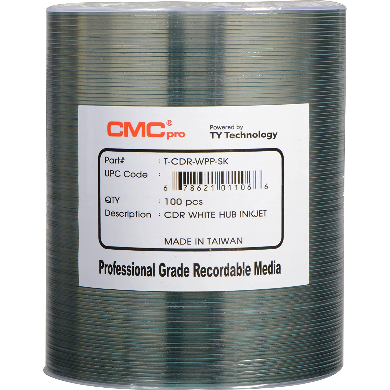 CMC Pro - Powered by TY Technology 48X White Inkjet Hub Printable CDR 80Min/700MB in 100 Pack J-CDR80WPP100SK