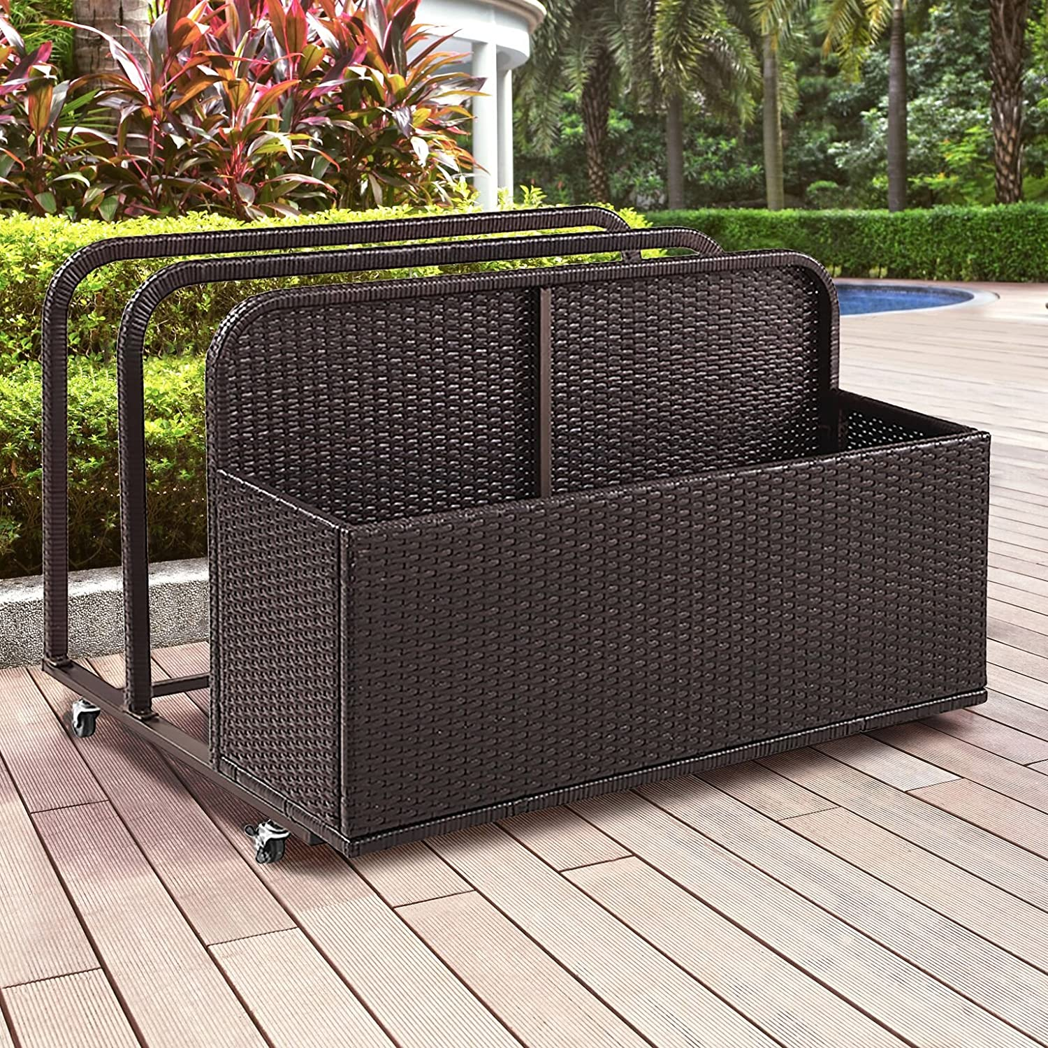Crosley Furniture CO7303-BR Palm Harbor Outdoor Wicker Rolling Pool Float Caddy