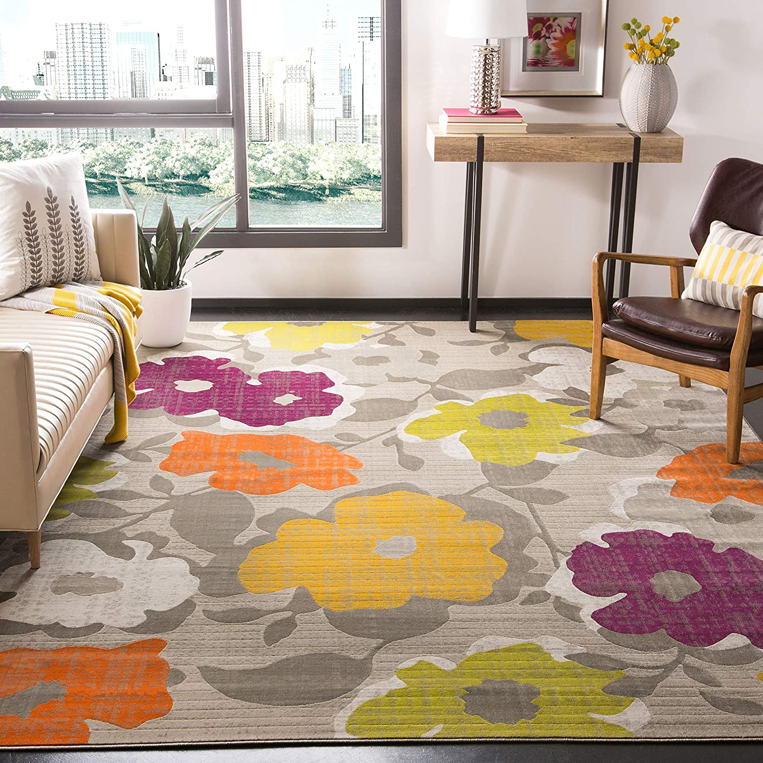 Amazon Com Safavieh Porcello Collection Prl7726c Floral Non Shedding Stain Resistant Living Room Bedroom Area Rug 6 X 9 Grey Yellow Furniture Decor