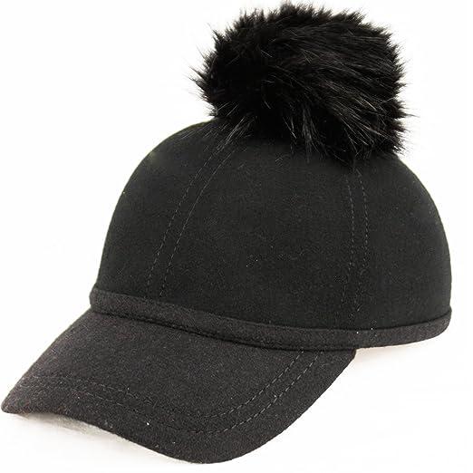 Fuax Fur Pom Pom Wool Felt Baseball Cap  100%wool (BLACK) at Amazon ... 35960bed2f9