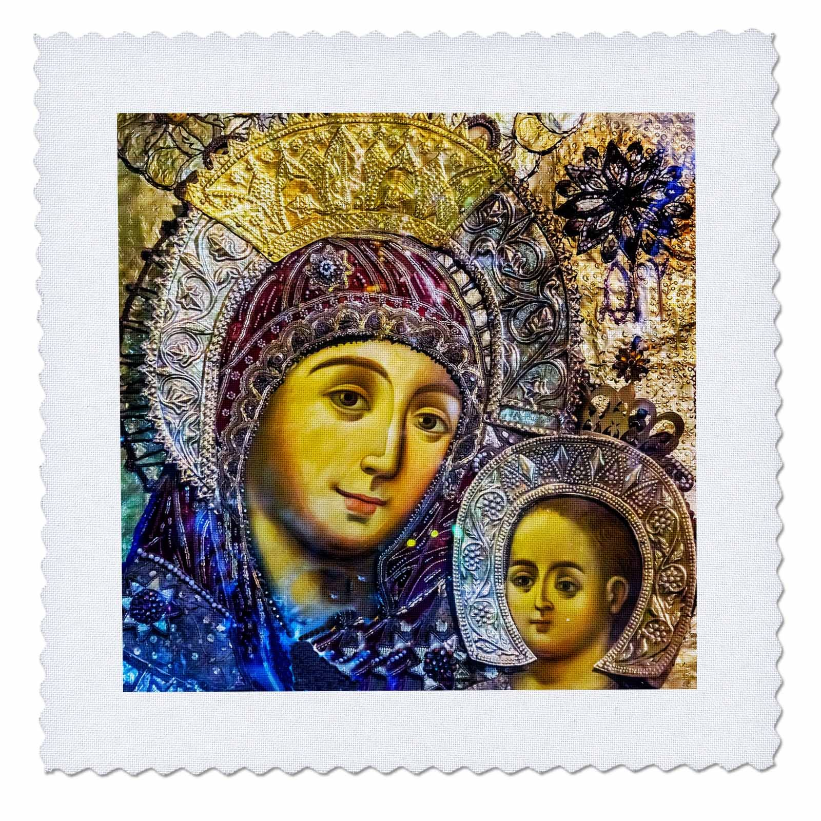3dRose Danita Delimont - Religion - Mary and Jesus Icon, Church of the Nativity, Bethlehem, Palestine. - 20x20 inch quilt square (qs_276863_8)