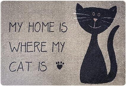 Color : Black and White cat Cute Cat Pattern Floor Mat Doormat Indoor Kitchen Bathroom Living Room Door Mat Rug
