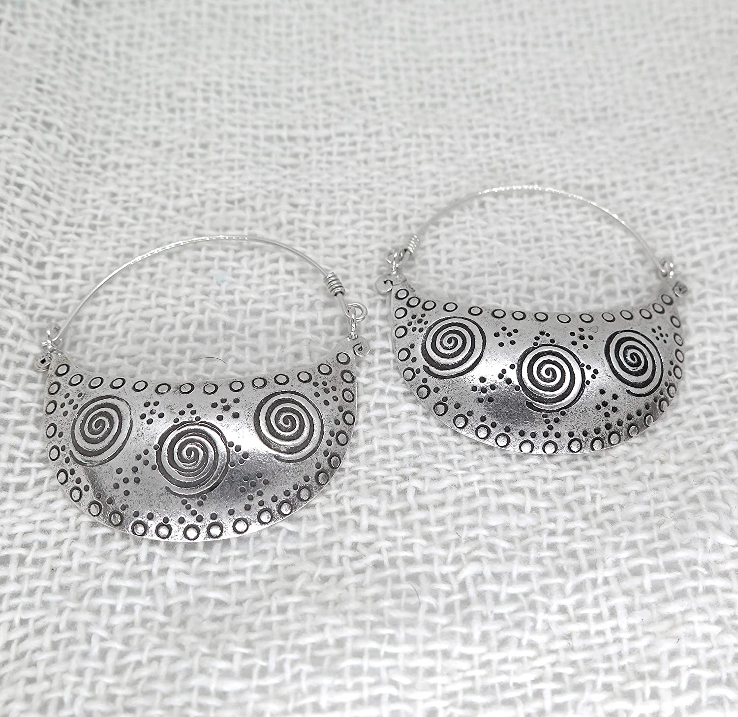 Sterling Silver Large Statement Crescent Moon Boho Handmade Hoop Woman Earrings with Spirals Ethnic Engraving
