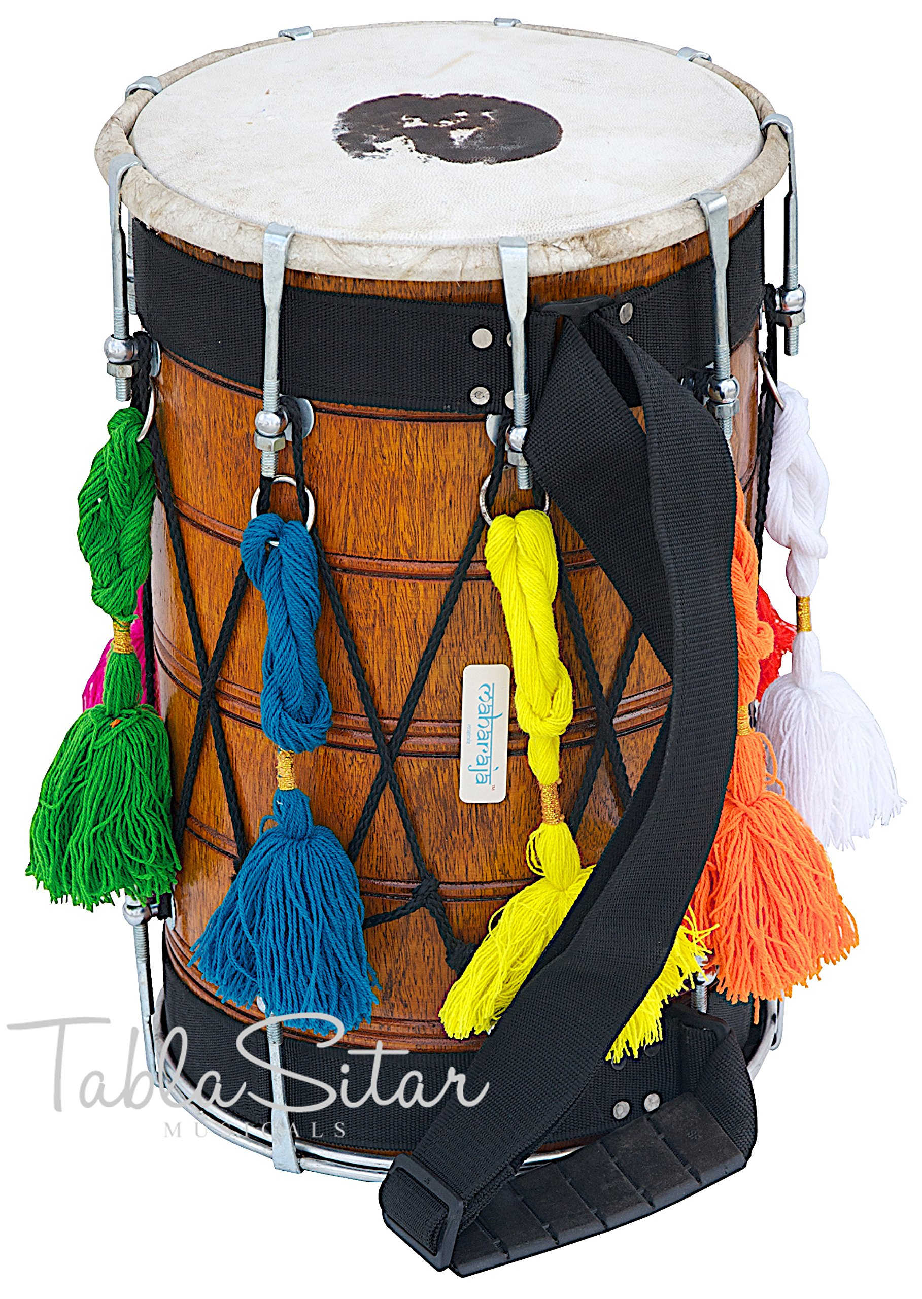 MAHARAJA Junior Dhol - Natural Color - Mango Wood Dhol for Kids (PDI-BGD) by Maharaja Musicals
