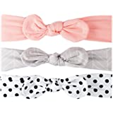 Soft Baby Headband Knot Bows - 3 Cotton elastic headband accessories for infants, baby girls, toddlers, kids