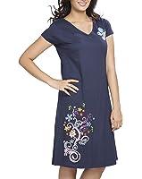 Clifton Womens Long Top Nightwear-Floral - Navy