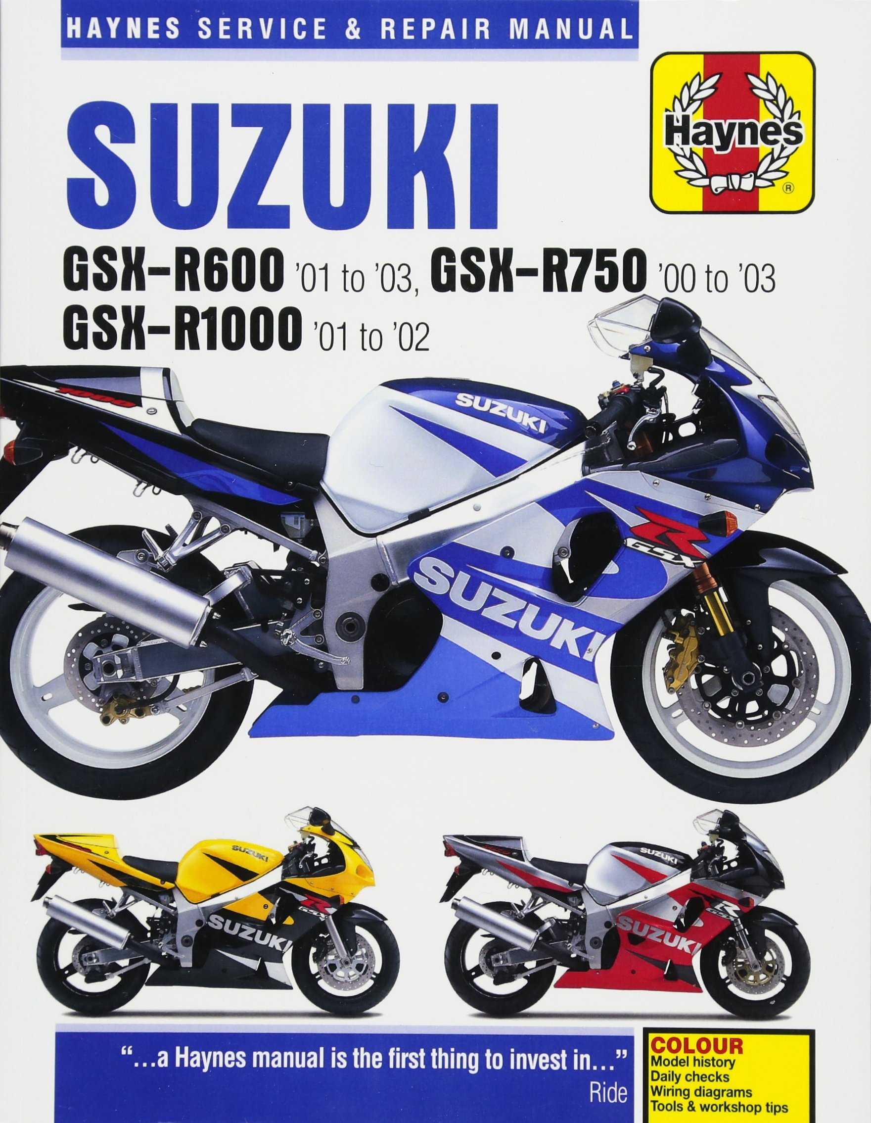 Suzuki GSX-R600 '01 to '03, GSX-R750 '00 to '03 & GSX-R1000 '01 to '02  (Haynes Service & Repair Manual): Editors of Haynes Manuals: 9781785212734:  ...