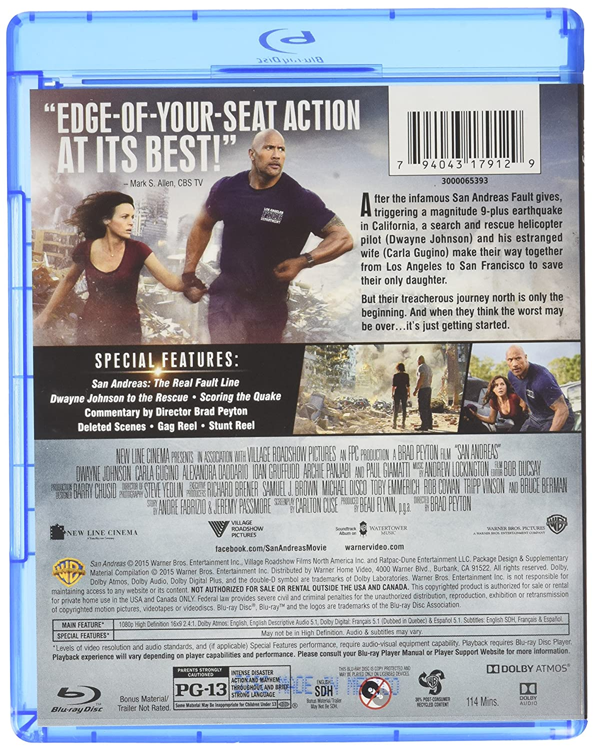 San Andreas [USA] [Blu-ray]: Amazon.es: Dwayne Johnson, Carla ...